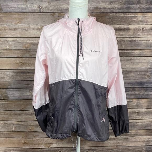Columbia Jackets & Blazers - Columbia Pink+Brown ZipUp Cinch Windbreaker Jacket